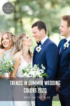 For summer wedding colors in 2020 we are expecting to see fall tones early, pops of golden yellow, and men in blue suits. Find the best wedding color palette for your summer wedding. Wedding Ring For Her, Wedding Wows, Wedding Veils, Wedding Groom, Wedding Trends, Wedding Designs, Wedding Styles, Wedding Photos, Wedding Ideas