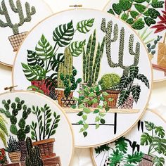 How darling are these embroidered works of art by artist Sarah K. Benning? Inspired by the outdoor landscapes and indoor gardens in Menorca, Spain, where she recently relocated from New York, Sarah starts each piece with a drawing and then painstakingly fills it in with embroidery floss. The