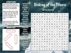 Distance Learning Sinking of the Titanic Word Search by Puzzles to Print Challenging Puzzles, Number Puzzles, History For Kids, Crossword Puzzles, Fun Activities For Kids, Your Teacher, Google Classroom, Vocabulary Words, Titanic