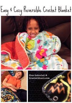 Easy Reversible Crochet Blanket Tutorial and Free Pattern