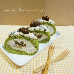 抹茶生地にマロンクリームと栗の渋皮煮を巻き込んでます。 - 60件のもぐもぐ - 抹茶と栗のロールケーキ by xxxnlovekxx65