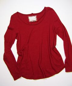 Anthropologie PURE + GOOD Long-Form Tee Shirt Top Sz M Long Sleeves Red #PureGood #anthropologie #esmesdrawer