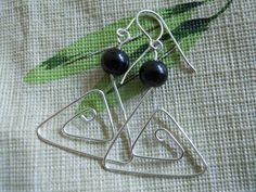 Silver Contempo  Earrings Triangles with Black Pearls by JoJosgems, $15.00