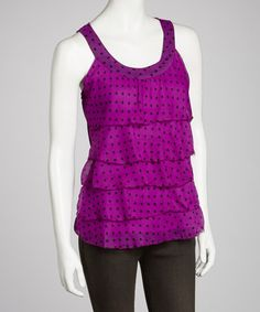 Take a look at this Purple Polka Dot Ruffle Tank - Women by Ash & Sara on #zulily today!