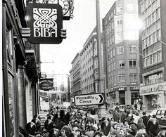 Crowds gather for the reopening of the Biba shop after it moved to  larger premises in the late sixties.