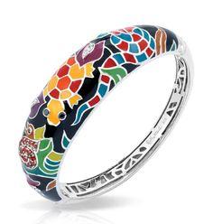 Galapagos Black Bangle by Belle Etoile. Fashion Jeweler. Enamel Jewelry