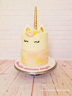 Pastel green, yellow, peach and pink two tiered unicorn cake Yellow Birthday Cakes, Birthday Cake Girls, Birthday Cupcakes, Unicorn Cupcakes, Unicorn Party, Unicorn Birthday, Yellow Cupcakes, Girl Cakes, Tween