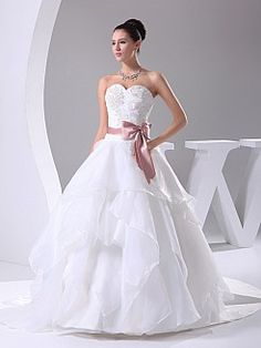 Princessa - Трапеция Атласная свадебном платье с Аппликации - RUB 12991,90руб.