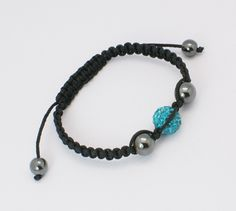 Fashion Shamballa Bracelets, with Middle East Rhinestone Polymer clay Beads and Hematite Beads, DarkCyan, Size: about 57mm inner diameter