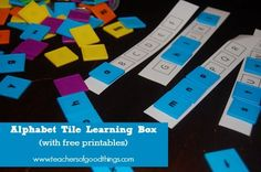 Alphabet Tile Learning Box (with free printable) - This hands-on learning box will make learning the alphabet fun and interactive. | www.teachersofgoodthings.com