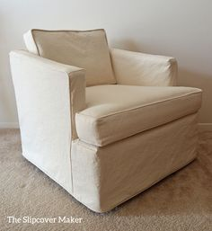 Washed, relaxed canvas slipcover with tailored fit. Instant update for a 1970's Henredon chair.