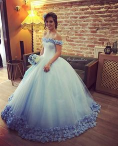 That not only style catches eyes,but also the color and cute flowers on it. If you would like,any questions,can email me. #ball gowns#wedding dresses#wedding gowns#global fashion #sweet 16#prom