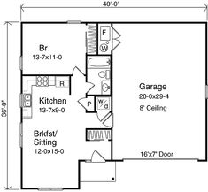 Single Story Ranch Style With 665 Sq Ft First Floor Apartment Same Level 2 Car Garage Plan 49023