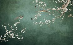 Wallpaper Wall, Chinoiserie Wallpaper, Oriental Wallpaper, Wall Murals, Wall Art, Cherry Blossom Flowers, Cleaning Walls, Green Rooms, Make Design