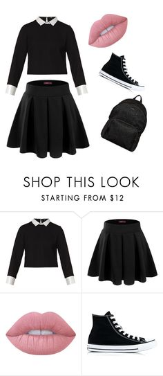 """""""School uniform❤️❤️❤️"""" by ambersiegel ❤ liked on Polyvore featuring Maje, Doublju, Lime Crime, Converse and Hogan"""