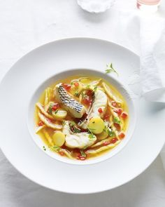 """See the """"Black Bass Bouillabaisse with Trofie Pasta"""" in our Seafood Chowder, Soup, and Stew Recipes gallery Shellfish Recipes, Seafood Recipes, Pasta Recipes, Soup Recipes, Chili Recipes, Game Recipes, Italian Seafood Stew, Potato Stew Recipe, Shrimp Soup"""
