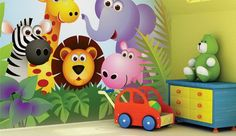 Cute and Colorful Jungle Baby Animals Cartoon Wall Murals Stickers for Nursery Bedroom Decorating Ideas