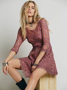 Free People Floral Mesh Lace Dress, $128.00