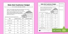 Bake Sale Fundraiser Budget Activity Sheet - worksheet, money, dollars, cents, adding money, shopping, profit