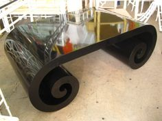 Scroll Black Lacquer Coffee Table