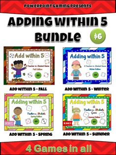 I've bundled 4 of my Adding within 5 seasons games together! Each game reinforces addition skills up to the number 5. Each game has a different season: Summer, Fall/Autumn, Winter, and Fall. Each game consists of at least 20 Questions with type-in scoreboards where needed. Great for a guided math center or rainy day activity. Great for individual practice on the iPad! Extra licenses are $4.