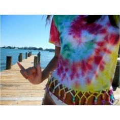 Tie Dye Tee with Fringe- cute! Pair this with the tie dye swim suit cover up and it would look amazing!! by stacey