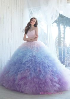 This dreamy pastel ombre gown from Kiyoko Hata is taking our breath away! Xv Dresses, Quince Dresses, Prom Dresses, Wedding Dresses, Pastel Dresses, Pastel Purple Dress, Lavender Quinceanera Dresses, Gown Wedding, Blue Ball Gowns