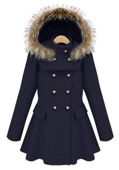 Navy Blue Buttons Pleated Band Collar Wool Coat