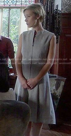 Bonnie's grey zip-front dress on How to Get Away with Murder.  Outfit Details: http://wornontv.net/53451/ #HTGAWM