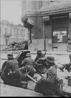 German 37-mm antitank gun PaK 35/36 on the street of Kharkiv, Ukraine - October 1941.