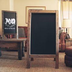 """Rustic chalkboard 48""""X 24"""" double sided a-frame sandwich board door MXOwoodworking op Etsy https://www.etsy.com/nl/listing/165554961/rustic-chalkboard-48x-24-double-sided-a"""