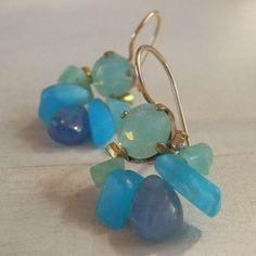 Earrings made of blue Swarovski Delicate ocean sky quartz. Blue Kyanite dangles down gently. Purple Earrings, Gemstone Earrings, Dangle Earrings, Fashion Earrings, Fashion Jewelry, Designer Earrings, Beautiful Earrings, Quartz Crystal, Swarovski Crystals