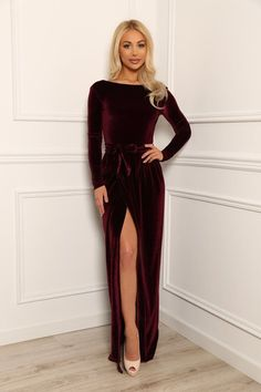 Dark Burgundy Velvet Maxi Elegant Dress  Slit Open Back Long Sleeves