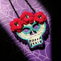 Calavera crochet necklace by Unraveled Crafter