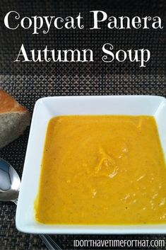 If you haven't had Panera's Autumn soup yet, you don't know what your missing! It is the best butternut squash I have ever had an I could easily. Panera Butternut Squash Soup, Fall Recipes, Soup Recipes, Clean Eating Snacks, Healthy Eating, Autumn Soup, Pea And Ham Soup, Creamy Chicken, Copycat Recipes