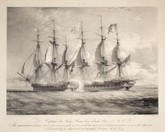 HMS Shannon, Commencing the Battle with the American Frigate Chesapeake, on the 1st June 1813  Lithograph on India paper,circa 1840