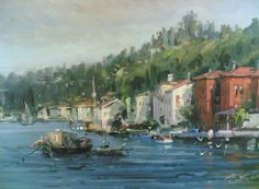 (Turkey) Landscape of Turkey by Remzi Taskiran ). Oil on canvas. Turkish Art, Fashion Art, Oil On Canvas, Istanbul, Paradise, Watercolor, Landscape, Artwork, Drawing