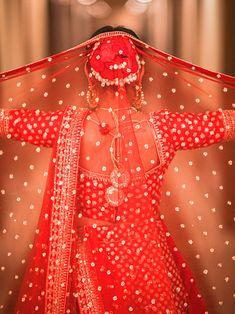 Wedding Bridal Lehenga -  Bride in Amazing Saree Gown. More information on WeddingNet #weddingnet #indianwedding #indianbride #indianwedding #bridallehenga #lehenga #pink #gold #beige #weddinglehenga #weddingsaree #bride #gown  FOLLOW OUR INSTAGRAM @WEDDINGNET Red Lehenga, Bridal Lehenga, Saree Wedding, Wedding Bride, Bridal Gowns, Bridal Photography, Photography Poses, Saree Gown