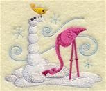 Flamingo eating a snowman Embroidery