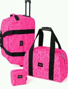 Victorias Secret PINK Aztec 3 Pc Luggage Set Wheelie Duffle Bag Suitcase Travel #VictoriasSecret