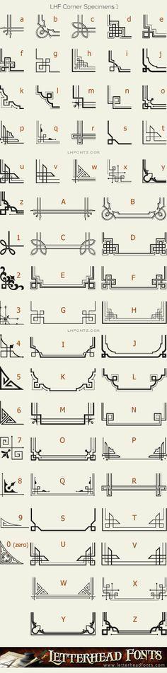 Letterhead Fonts / LHF Corner Specimens font / Corners and Borders