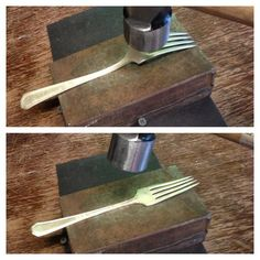 Hammer down on the raised part, flip, repeat. Don't hammer on handle or tines, it will make them harder to bend.