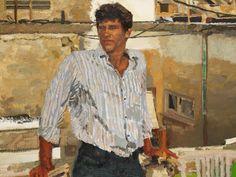 Yisrael Dror Hemed, Man in Striped Shirt, 2011, oil on canvas, 90x120 cm
