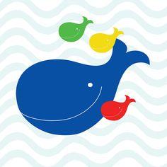 Mama Whale & Babies Kids Print  - 11 x 11. $20.00, via Etsy.