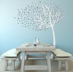 Add a dramatic effect to any room with this stylized, life-sized tree. I like it with the table and wall color. For me it works in a casual dining area, not a sitting room