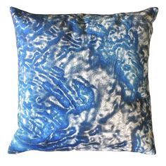 """Handmade RADOST Throw Pillow $54 * REFLECTIONS (BLUE) * Removable insert; washable cover * Material: Minky (100% polyester) * Dimensions: 16"""" high x 16"""" wide * Pillow cover care instructions: Machine wash cold and line dry; do not bleach."""
