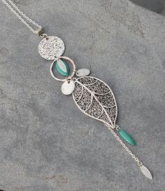 Bijou Créateur - Sautoir Chaîne Argenté intercalaire antique breloques feuille goutte pampilles chaînes et sequin émaillé turquoise