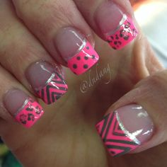 Short is simple to me.still like the design and bright pink. Beautiful Nail Designs, Beautiful Nail Art, Cool Nail Designs, Love Nails, Pretty Nails, My Nails, Nail Polish Combinations, Bright Nails, Bright Pink