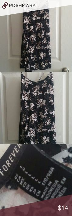 F21 Polka Dot Floral Night Gown Dress Beautiful dress that can be worn for sleepwear or dressed up for casual wear.  The dress has spaghetti straps that can be adjusted Forever 21 Dresses