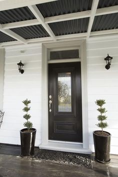 Alice and Caleb's Front Yard - Room Reveals - Alice and Caleb - Teams - The Block NZ - Shows - Bungalow Exterior, Bungalow Renovation, Bungalow Homes, Exterior Paint Colors For House, Paint Colors For Home, House Colors, Paint Colours, Cottage Front Doors, House Cladding